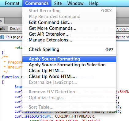 How to auto indent and collapse source code in Dreamweaver