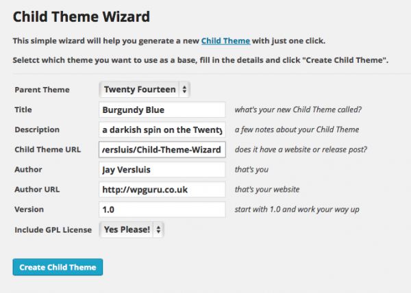 Child Theme Wizard in action
