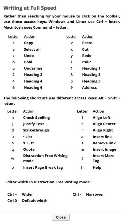 WordPress-DFW-Shortcuts