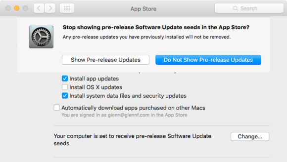 How to switch off Developer Beta Downloads on Mac OS X | The