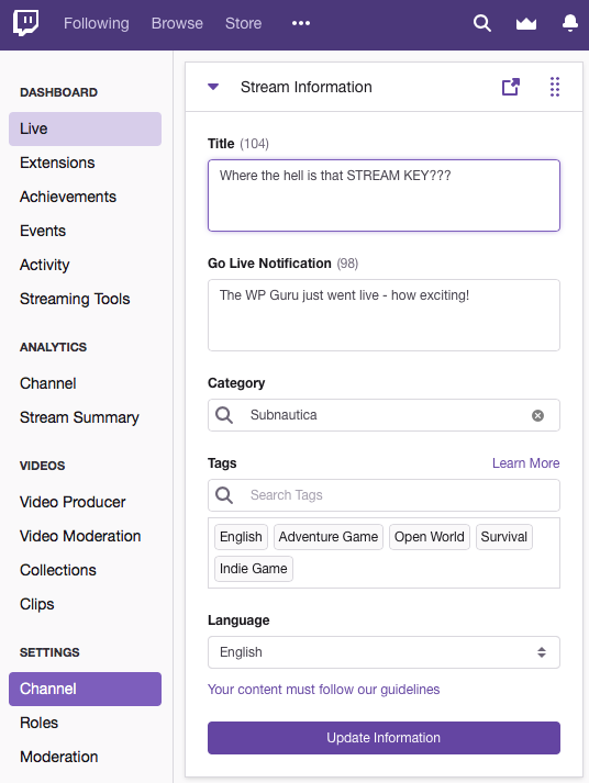 How to find your Twitch Stream Key (2019) | The WP Guru