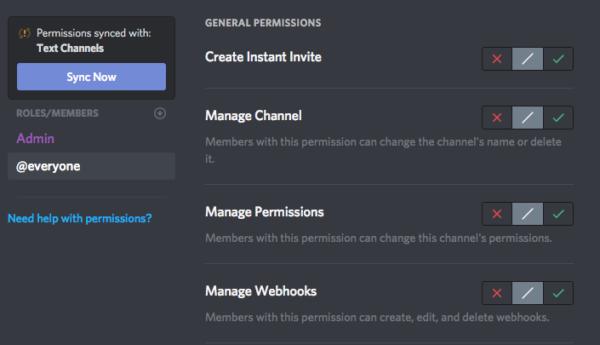 Legend chat permissions